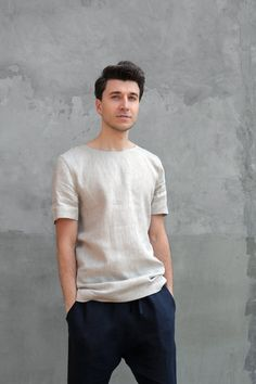 Mens Linen Outfits, Beige T Shirts, Linen Tshirts, Summer Shirts, Ethical Fashion, Stylish Men, Shirt Style, Just For You, Menswear