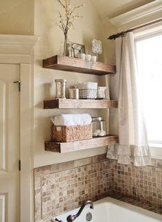 Bathroom: Sweet Window Curtain Ideas Also Mosaic Backsplash Tile With Cool Bathroom Wall Shelves Over Alcove Bathtub Design: Trendy Bathroom Wall Shelves for Mini Bath Accessories