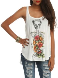 Floral Skeleton Hi-Lo Tank Top from Hot Topic. Saved to Main stuff 😏. Shop more products from Hot Topic on Wanelo. Cute Tank Tops, Crop Tops, Tank Girl, Cropped Tank Top, Racerback Tank Top, Floral Tops, Skeleton, My Style, Hot Topic