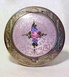 Vintage Art Deco RG Co. Guilloche Lavender Enamel Powder Compact