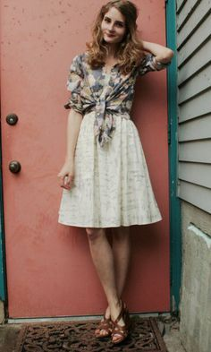 a guest or a bridesmaid...sweet dress and tied blouse