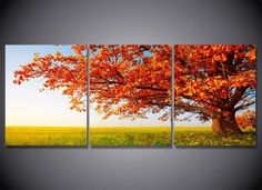 Style Your Home Today With This Amazing 3 Pieces Multi Panel Modern Home Decor Framed Maple Tree Nature Wall Canvas Art For $190.00  Discover more canvas selection here http://www.octotreasures.com  If you want to create a customized canvas by printing your own pictures or photos, please contact us.