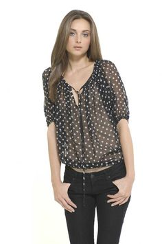 Polka Dots!! Ladies.. this is one sexy blouse.