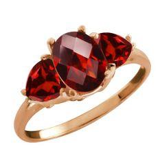 2.48 Ct Checkerboard Red Garnet Gemstone Gold Plated Sterling Silver Ring -