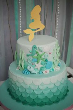 Under the Sea Birthday Party Cake Little Mermaid Cakes, Little Mermaid Birthday, Little Mermaid Parties, Birthday Cake Girls, Birthday Parties, 5th Birthday, Birthday Cakes, Birthday Ideas, Sirenita Cake