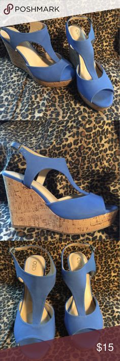 Women's Super High Wedge High Heels Sz. 10 ☄️💙☄️ Super pretty Blue☄️💙☄️ w/tan cork wedge!  sz. 10 Super High (5 in.) wedge sandal open toe high heels! Made by Cato these are new, only ever tried on! -no tags or box- Please see last few photos -there are a few scuff marks -where the blue is scuffed off/ on the upper heel edges from storing. Not to noticeable when wearing- Other than that these are new condition! Comfy material, stylish & perfect for summer! -any questions, please ask! Thank…