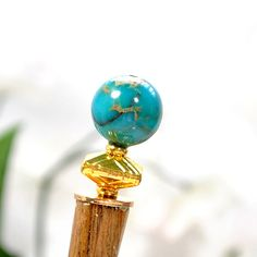 """""""Remembering Happiness"""" - Blue Gold Hairstick, 5 inch, Art Deco Hair Accessories"""