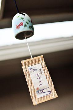 Delicate ceramic Japanese wind chime