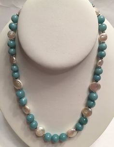 Amazonite and Freshwater Pearls Necklace by GrowlyHavenJewelry on Etsy