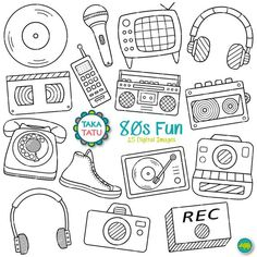 Fun Digital Stamp - Party Clipart / Eighties Party / Scrapbook / Radio / Camera / TV / H Party 80s, Eighties Party, Casino Party, Bullet Journal Ideas Pages, Bullet Journal Inspiration, Doodle Drawings, Doodle Art, Desenhos Tim Burton, Party Logo