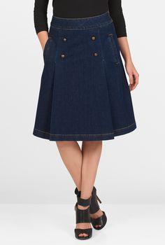 Our deep-hued cotton denim skirt with contrast top-stitching is styled with a banded waist and inverted pleats at the front highlighted with gold-tone buttons.