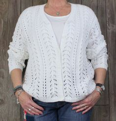 Nice Eddie Bauer XL size Cardigan Sweater White Handknit Cotton Womens Career Casual