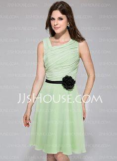 Bridesmaid Dresses - $96.99 - A-Line/Princess Knee-Length Chiffon Charmeuse Bridesmaid Dress With Ruffle Sash Flower(s) (007026085) http://jjshouse.com/A-Line-Princess-Knee-Length-Chiffon-Charmeuse-Bridesmaid-Dress-With-Ruffle-Sash-Flower-S-007026085-g26085