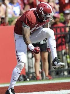Alabama running back Kenyan Drake (17) celebrates a long touchdown catch against Florida at Bryant Denny Stadium in Tuscaloosa, Ala. on Saturday September 20,  2014.