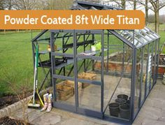 """8ft5"""" wide in multiple lengths. Premium greenhouse. Painted version of the 8ft wide Titan. Generous double door opening, low threshold access, a 10 blade louvre, canopy seals and cantilevers on every bar."""