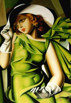 tamara de lempicka Young Girl with Gloves in Green 1929 Framed Print for sale - paintingandframe.com