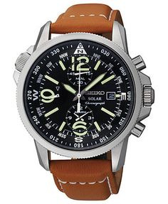 A watch built for style and adventure. This Solar watch from Seiko harnesses the power of natural light and features chronograph and compass tech. | Tan leather strap | Round stainless steel case, 42m