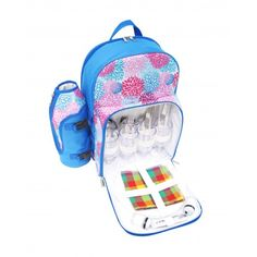 PicnicHappy Picnic Backpack for 4 Person, Blue cute design, with wine holder, Plates, Cutlery Set - Picnic Happy Official We love picnics! Best Picnic Backpacks Bags Baskets Elegant Gifts