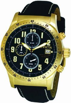 Invicta Military Chronograph Gold-tone Black Dial Mens Watch 1318 Invicta. $119.99. Flame Fusion Crystal. Water Resistant Up to 100 m (330 ft). Chronograph, Luminous Numerals, Stop Watch. Swiss Quartz Movement