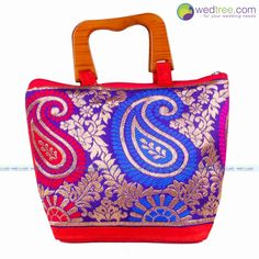 Hand Bag - Wooden Handle with Mixed Print Design Small