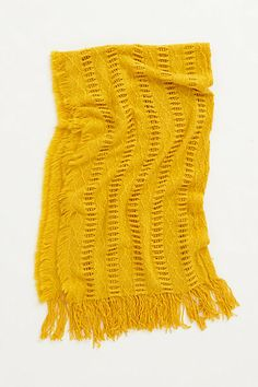 Pointelle Fringe Throw - anthropologie. Looks so soft and pretty in ivory. Not a fan of the mustard.