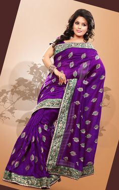 $61.04 Purple Art Silk Saree 21076 With Unstitched Blouse