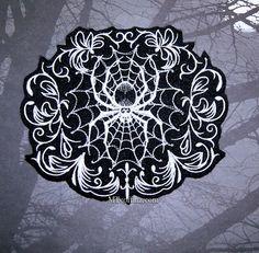 Damask Gothic Spiderweb Black White Iron On Embroidery Patch MTCoffinz by MTthreadz on Etsy https://www.etsy.com/listing/169324005/damask-gothic-spiderweb-black-white-iron