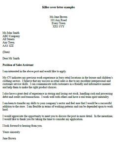 Sales Assistant Cover Letter Example Twitter #zusashicleaning ...