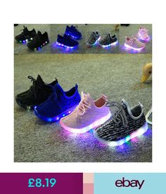 66adc0535 Girls  Shoes Led Light Up Children Kids Boys Girls Knitted Trainers  Luminous Sneakers Shoes