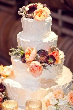 Gorgeous...use real flowers to make colors pop and it looks way better than sugar flowers
