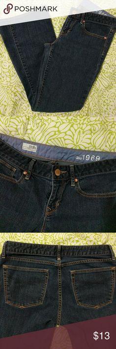 GAP curvy fit dark wash jeans Gap jeans size 8a, but fit more like a 6a. Boot cut, 99% cotton, 1% elastane. Excellent condition! GAP Jeans Boot Cut