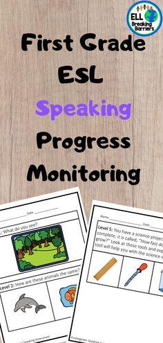 ESL Speaking Progress Monitoring, First Grade - My best education list Esl Learning, Co Teaching, Esl Resources, Teacher Resources, Excel Design, Teacher Checklist, Writing Assessment, First Grade Lessons, Ell Students