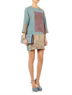 By Walid Lotus vintage crochet piano shawl dress