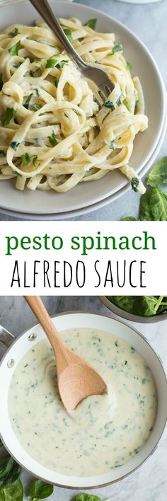 This Pesto Spinach Alfredo Sauce is light in calories and packed full of flavor! Better than plain old alfredo sauce!