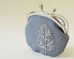 Coin purse - winter tree on gray linen on Etsy, $42.00. Oh my goodness; I love this so much!