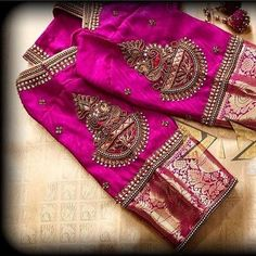 New Embroidery Blouse Indian Sleeve Ideas Wedding Saree Blouse Designs, Pattu Saree Blouse Designs, Blouse Designs Silk, Designer Blouse Patterns, Wedding Sarees, South Indian Blouse Designs, Wedding Blouses, Design Patterns, Hand Work Blouse Design