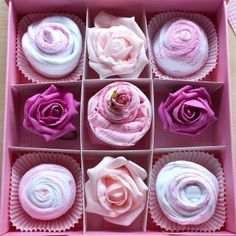 Cupcakes made from real baby clothes presented in a keepsake box. Perfect for newborn girls