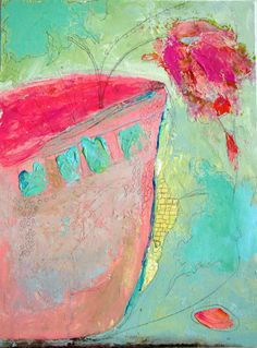 Abstract Painting blue pink yellow vase flowers texture impasto mothers day art 12 x 16