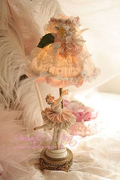Dresden ballerina lamp with lace shade