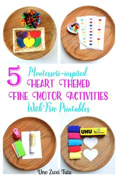 5 hands-on, easy and fun heart themed fine motor activities for toddlers and preschoolers. With a montessori-inspired free printable pack perfect for Valentines day or any time of the year. Includes beading with pattern, lacing, art trays and color matching with a diy clothespin activity