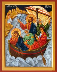 "Jesus calming the storm [He replied, ""You of little faith, why are you so afraid?"" Then he got up and rebuked the winds and the waves, and it was completely calm. Religious Images, Religious Icons, Religious Art, Jesus Calms The Storm, Church Icon, Calming The Storm, Byzantine Icons, Biblical Art, Catholic Art"