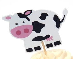 Farm Animal Craft for Party Cupcake Toppers (My Boys Love Cows)