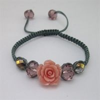 Stone Flower Macrame Bead Bracelet Kit - Light Pink & Slate Grey