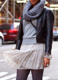 grey colar, leather jacket, flowy skirt