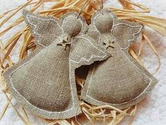 Burlap angel ornaments Simple and charming. Burlap Ornaments, Burlap Crafts, Christmas Projects, Christmas Tree Ornaments, Holiday Crafts, Cheap Ornaments, Burlap Christmas Decorations, Burlap Projects, Fabric Ornaments