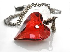 Swarovski Heart Necklace Red Heart Vintage Brass by meshedesigns, $26.00