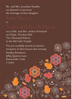 Brown, orange, and red palette. Whimsical Wedding Invitations, Salt Lake Temple, Getting Married, Reception, Marriage, Palette, Daughter, Orange, Brown