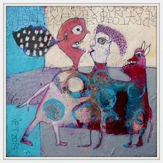 """""""Why is he still there?""""   acrylic on paper size 25x25cm    Elke Trittel"""