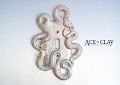 DELUXE Mother of Pearl Octopus Light Switch Cover by AceofClay