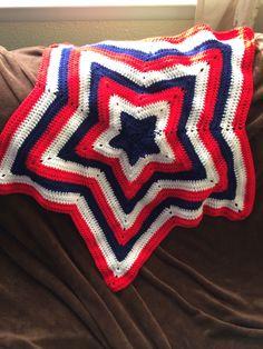 Star blanket, American Flag Style, Double Crochet